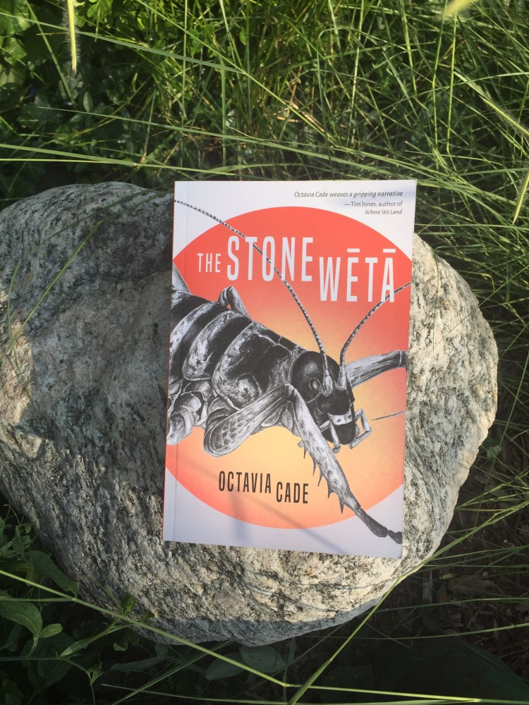 A copy of the book The Stone Wētā by Octavia Cade sits on a grey granite stone amidst long green grass. The book cover has a red and yellow circle on it, with a black and white insect in the center.